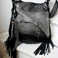 Gray & black distressed leather hobo few tones bag fringe  bohemian purse festival bag unique by sweetsmokebags gypsy free people tribal