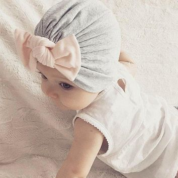 Spring Fabric Solid Color Stitching Indian Hat Bow Baby Children's Hair Accessories Concave Shape Artifact