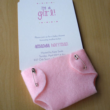 Girl Baby Shower Invitations Cute Pink Diaper - Felt and Cardstock