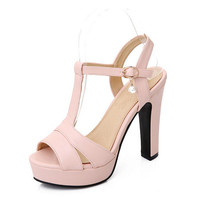 Plus size 34-43 New 2017 Summer Women Sandals Fashion Thick High Heels Party Shoes T-Strap Rome Style Ladies Beach Shoes
