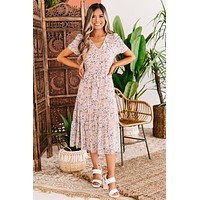 Worlds Apart Floral Print Ruched Sleeve Midi Dress (Rose)