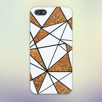 Abstract White x Gold Glitter Geometric Design Case for iPhone 6 6 Plus iPhone 5 5s 5c iPhone 4 4s Samsung Galaxy s5 s4 & s3 and Note 4 3 2