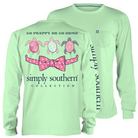 Simply Southern Go Preppy Turtle Anchor Bow Long Sleeve Pocket T-Shirt
