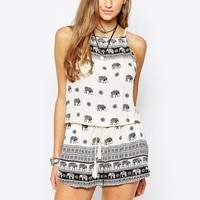 Pull&Bear Cheesecloth Elephant Print Playsuit