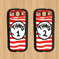 Thing 1 Stripes Best Friends For Samsung Galaxy S3 Case Soft Rubber - Set of Two Cases (Black or White ) SHIP FROM CA