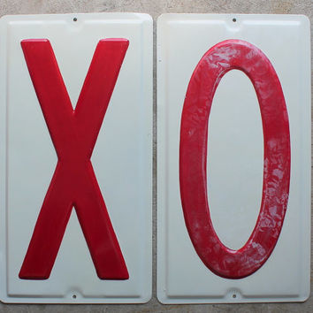 Vintage Mid Century Large Metal Letters, Valentine, X O, Kisses and Hugs, Retro Industrial Signage, Red and White. 19 Inches High