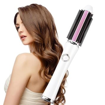 RUCHA Portable Hair Curler Brush 2 in 1 Straightener Iron Rechargeable Battery Electrical Curling Brushes Straightening Comb