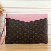 Louis Vuitton LV Fashionable Women Men Envelope Clutch Bag Leather File Bag Tote Handbag Pink