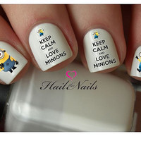 Minions Despicable Me Nail Art Water Transfer Decal YD059 Keep Calm
