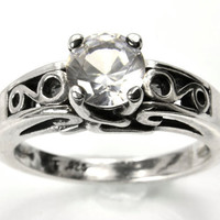 Engagement Ring, White Sapphire and Sterling Silver Ring, Engagement on a Budget, Diamond Alternative