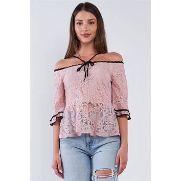 Dusty Pink Off The Shoulder Cropped Lace Midi Sleeve Peplum Top