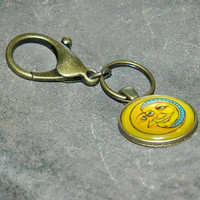 Moon & Sun Keyring, Charm For Purse, Key Ring With Big Hook, Bronze Keychain