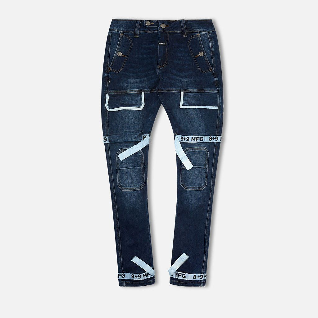 Image of Strapped Up Slim Utility Dark Washed Jeans