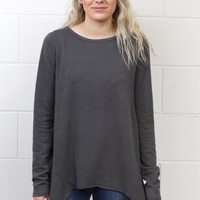 Cozy Fleece Sharkbite Sweater {Charcoal} EXTENDED SIZES