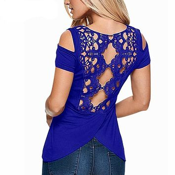 Sexy Blouses in Colors - Lace Crochet Short Sleeve