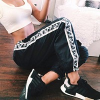 Women Sport Casual Side Stitching Stripe Camouflage Weave Ribbon Sweatpants Leisure Pants Trousers