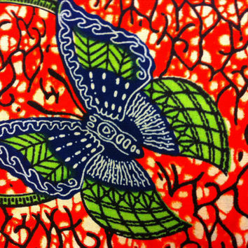 African Wax Print Fabric by the HALF YARD. Red/Orange, Blue, and Green Butterflies