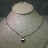 """Vintage Sterling Silver 32"""" Necklace with Heart Pendant - puffy engraved, 1.06 grams"""