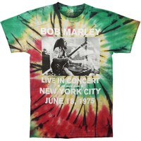 Bob Marley Men's  Live In NYC Tie Dye T-shirt Multi