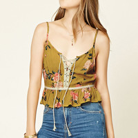 Floral Lace-Up Cami
