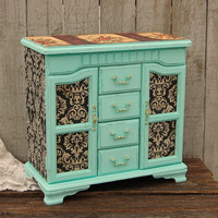 Shabby Chic Jewelry Box, Jewelry Armoire, Mint Green, Decoupage, Damask, Upcycled, Hand Painted, Large Jewelry Box, Distressed