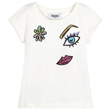 Moschino Girls White Sparkly Face T-shirt