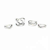 Don't Cross Me Ring Set - Silver