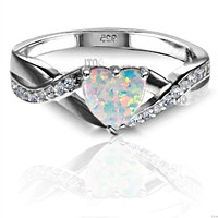 .925 Sterling Silver White Fire Opal Heart Ladies Promise Ring size 4-12 Midi