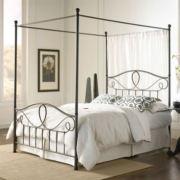 Queen size Complete Metal Canopy Bed in French Roast Finish