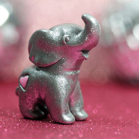 Disco Love Elephant Figurine Silver Glitter with Pink Heart