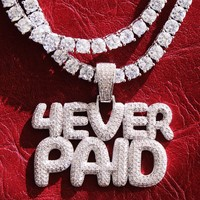 Iced Out Custom 4ever Paid Boss Pendant Tennis Chain