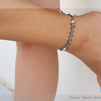 Black & white anklet - knoted anklet - macrame anklet - anklet bracelet - boho anklet - friendship anklet - summer anklet - beach jewelry