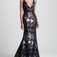 Abstract Metallic Gown, Navy/Gold