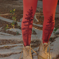 Printed Tights - TREE Tights- size S / M   full length tights.