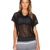 Mesh Short Sleeve Hooded Pullover Top