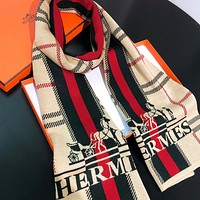 Hermes New fashion letter plaid stripe horse cat print couple scarf Khaki No Box