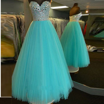 A Line Floor Length Beads Bodice Tulle Skirt Prom Gowns Evening Dresses pst0078