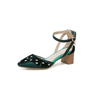 Ankle Strap Pointed Toe Rhinestone Mid Heel Sandals Summer Shoes 9686