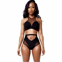 Black Zip Back Mesh High Waisted Swimsuits Beach Swimwear Brazilian Bikinis Ladies Bathing Suit