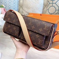 LV New Fashion Monogram Print Leather Shoulder Bag Handbag Coffee