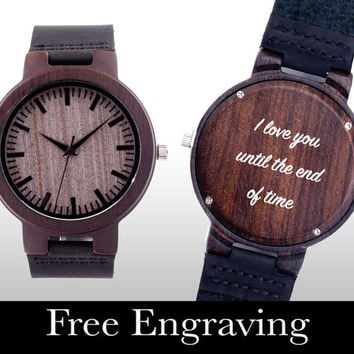 Engraved Watch, Wood Watch, Engraved Wood Watch, Wooden Watch, Ebony Wood, Personalized Gift, Christmas, Gifts For Him