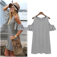 SIMPLE - Woman Fashionable Summer Arm Revealing One Piece Dress a10662