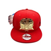 New Era x Secret Society Scarlet Gold Gold Medallion Snapback Hat Red Gold