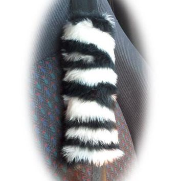 Zebra Stripe Black and white faux fur single shoulder strap pad