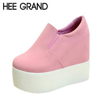 HEE GRAND Brand 2017 Women Boots Solid Soft High Heels Platform Wedge Autumn Shoes Woman Ankle Fashion Riding Boots XWX2835