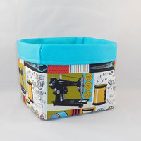 Sewing Themed Fabric Basket For Storage Or Gift Giving