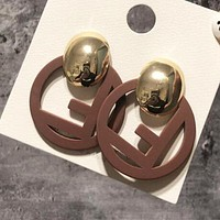 FENDI Newest Popular Women Retro F Letter Circular Pendant Earrings Accessories Jewelry Coffee