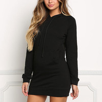 Black Hooded Jersey Knit Sweater Dress
