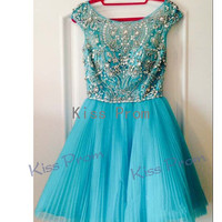 Custom A-line Cap Sleeves bove the knee Tulle Beading Fashion Short Prom dresses Bridesmaid Dresses Evening Dresses 2014 New Arrival