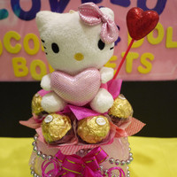 Hello Kitty Plush Doll in a vase with Ferrero Rocher Chocolates. Pretty Valentine's Day Decoration